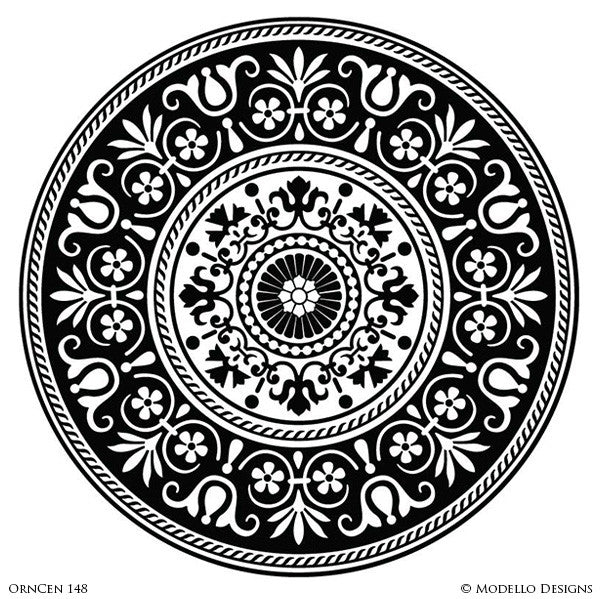 Customized Adhesive Stencils for Decorating Grand Ceilings with Large Circle Medallions - Modello Custom Stencils