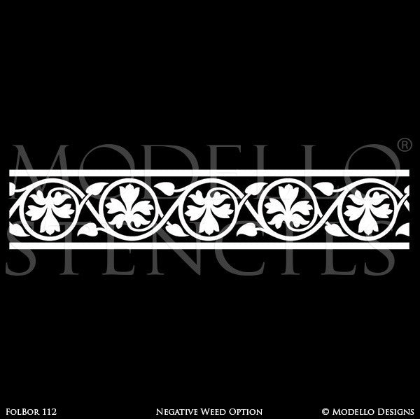 Nature Designs and Leaf Pattern Painted on Ceilings and Walls - Modello Custom Borders Stencils
