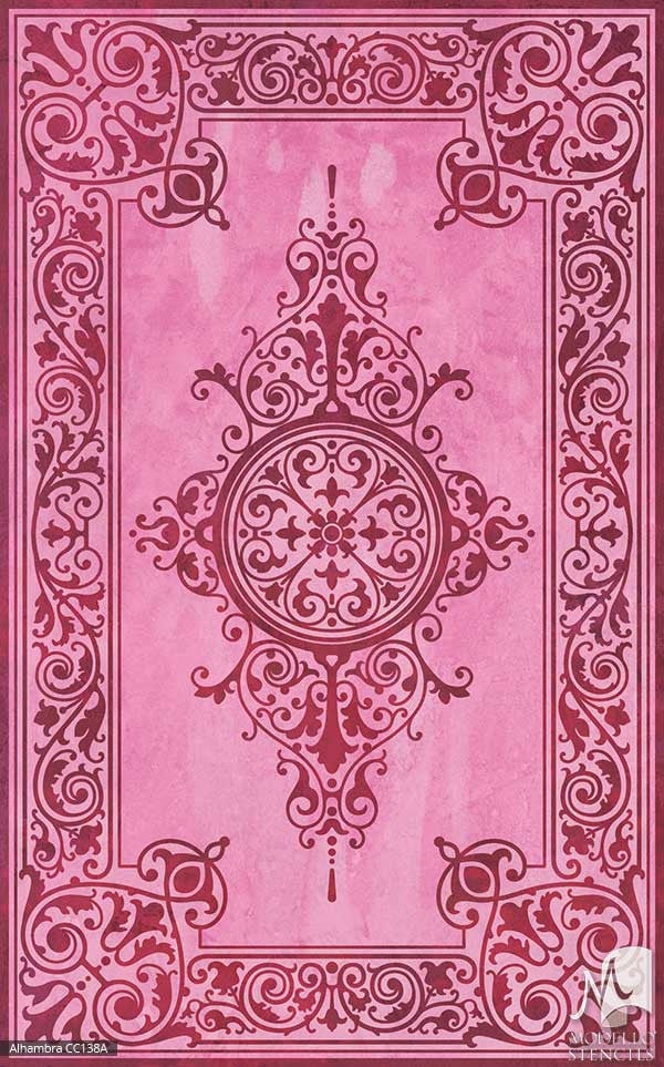Pink Colorful Custom Painted Faux Rug Carpet Floor Stencils - Modello Custom Stencils