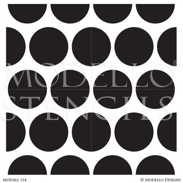 Large Polka Dot Circles Painted on Allover Wall Stencils - Modello Custom Stencils