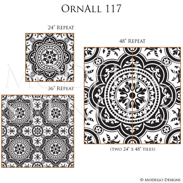 Classic Tile Designs for Stenciled Floors and Ceilings - Modello Custom Stencils