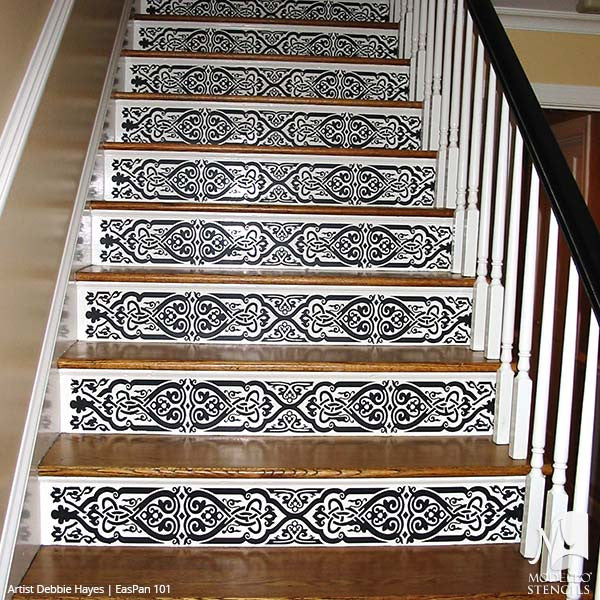Large Asian Stairs Stencils - Stenciled Painted Wood Floors, Ceilings, Wall Decor - Modello Custom Stencils for Painted Walls & Furniture Projects