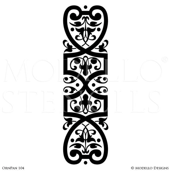 Ornamental and Decorative Wall Art Stencils - Modello Custom Designer Ceiling or Window Panel Stencils