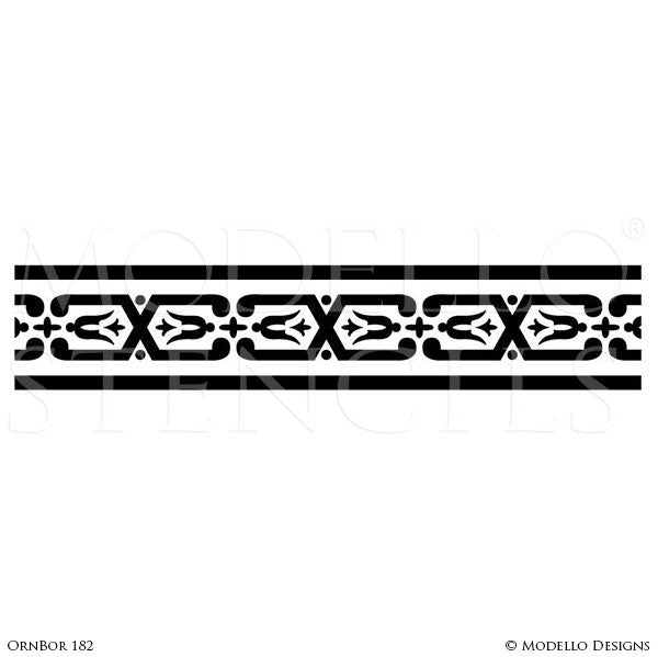 Ornamental and decorative wall art stencils for painting classic home decor modello custom designer border