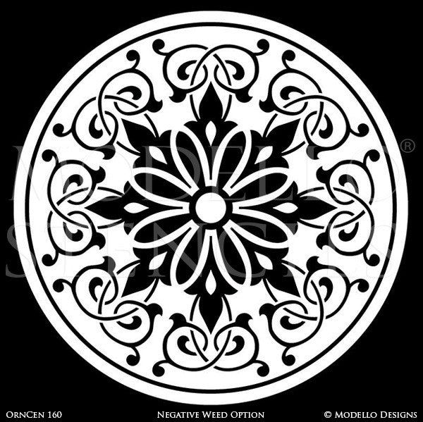 Ornamental Ceiling Decor or Concrete Floor Makeover - Modello Adhesvie Custom Medallion Stencils