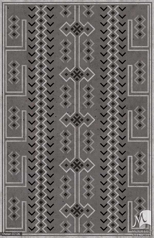 Tribal African Southwest Navajo Pattern - Painted Floor Carpet Panels - Geometric Custom Stencils for Decorating