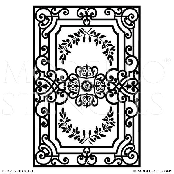 Old World and European Design and Decor - Large Carpet and Ceiling Panel Stencils - Modello Custom Stencils