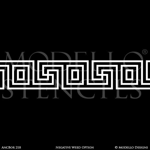 Old World and European Design and Decor - Long Borders Adhesvie Floor Ceiling Stencils - Modello Custom Stencils