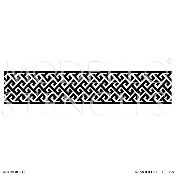 Geometric Border Patterns Painted on Floors and Ceilings - Modello Custom Stencils