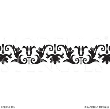 Classic and Detailed Border Designs for Floor Painting and Ceiling Decor - Modello Custom Stencils