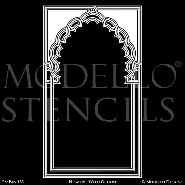 Moroccan Moorish Archway Doorway Design - Custom Painted Bohemian Wall Panel Patterns - Modello Custom Stencils
