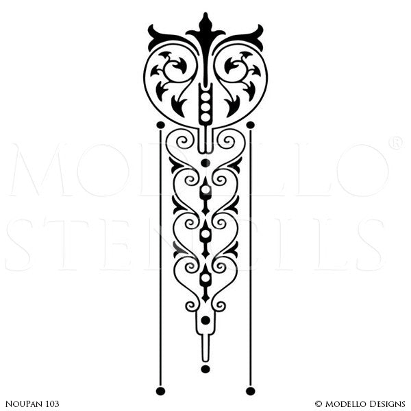 Art Deco Art Nouveau Retro Vintage Design Geometric Pattern - Large Wall Panel Stencils - Modello Custom Stenciling