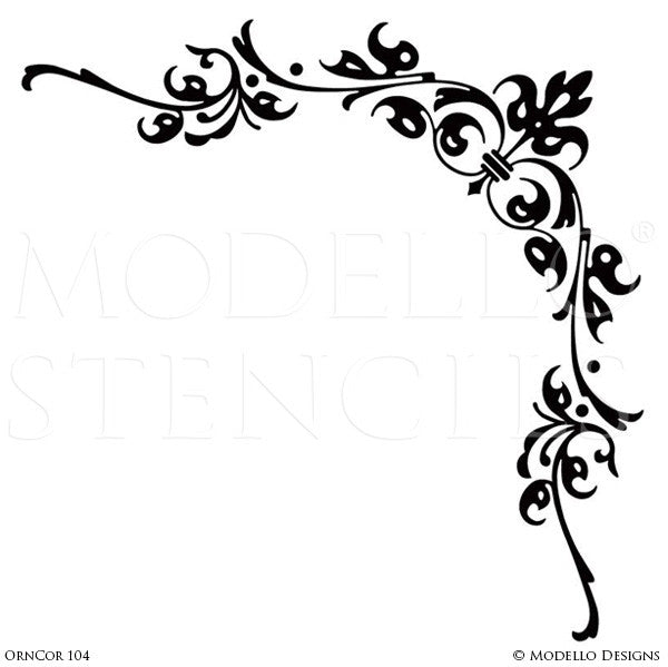 Corner stencils for custom painted floor walls ceiling for Wall decor templates