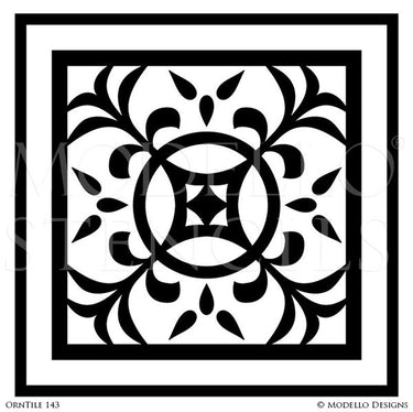 Floor Stencils and Ceiling Stencils with Tile Designs - Modello Custom Stencils