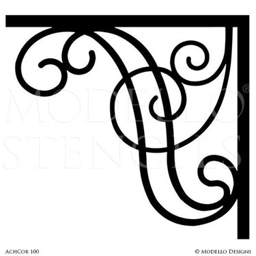 Decorative Corner Frame Painted on Walls, Mirror, Window - Modello Custom Stencils