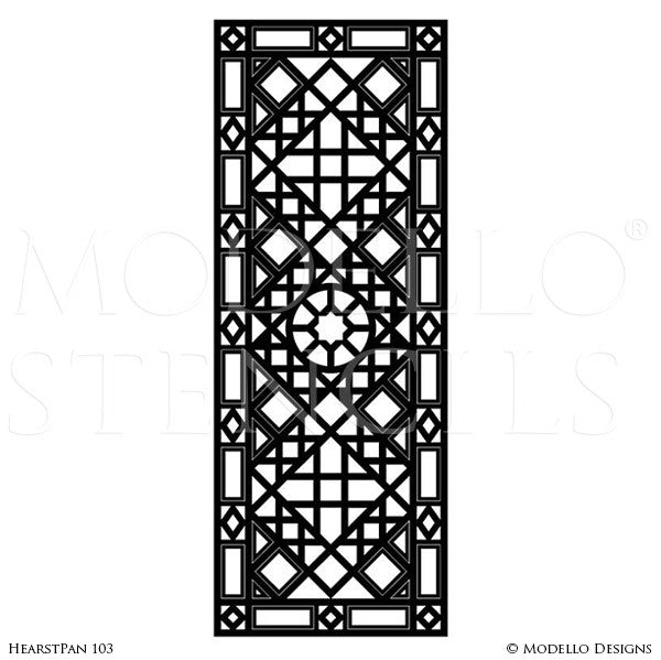 Geometric Pattern Painted on Glass Mirror Doors Windows - Professional Wall Painting Designs - Modello Custom Panel Stencils