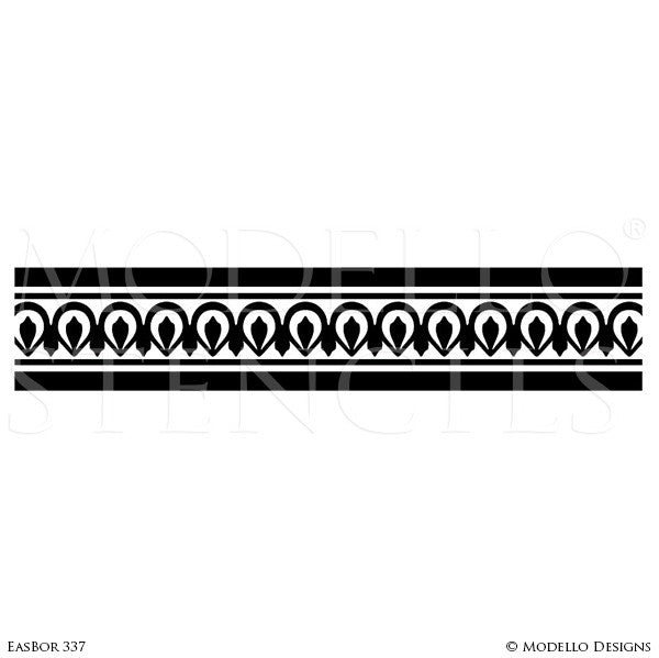 Global Chic Stairs Stencils with Custom Borders Patterns - Modello Custom Stencils Designs with Exotic Home Decor