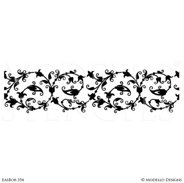 Asian Flower Vines Leaves Border Stencils for Painting Decorative Wall Finish - Modello Designs