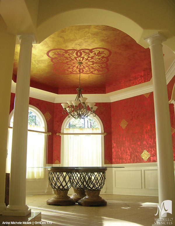 Painting Ceiling Designs with Custom Classic Medallion Stencils