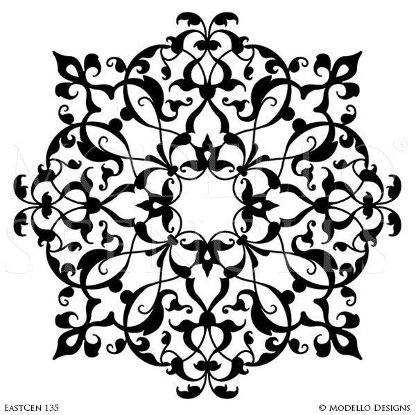 Exotic Moroccan Decor and Designs - Custom Ceiling Medallion Stencils for Painting