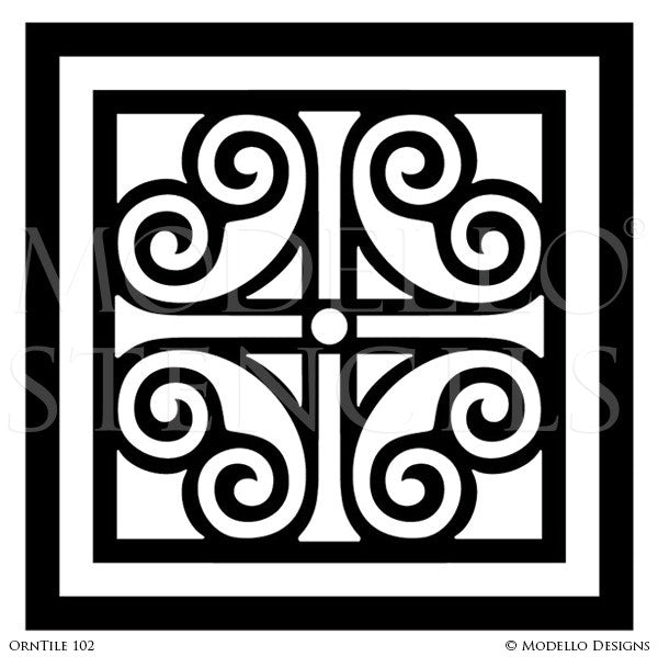 European and Old World Home Decor - Custom Tile Stencils for Painting