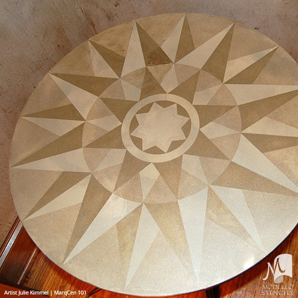 Painted Wood Floors with Medallion Stencils - Marquetry Modello Custom Stencils