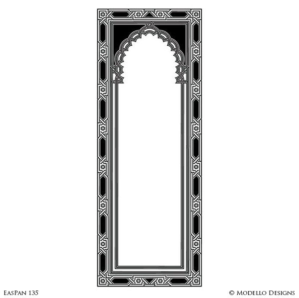 Tall Large Door Archway Window Panel Stencils for Moroccan Style Decorating - Modello Custom Wall Stencils