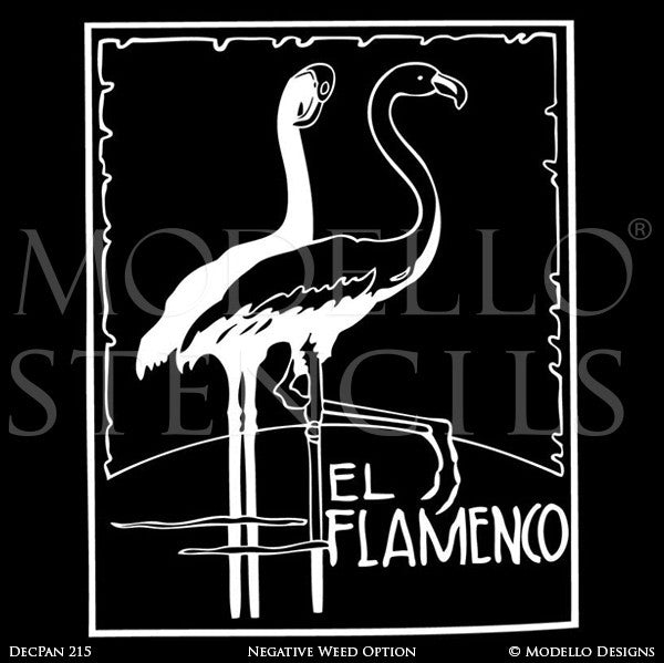 Flamingo Flamenco Large Wall Art Poster - Custom Stencils for Painting and Decorating