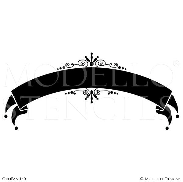 Large Classic Script Ribbon for Decorative Painting Wall Finish - Modello Custom Stencils Designs