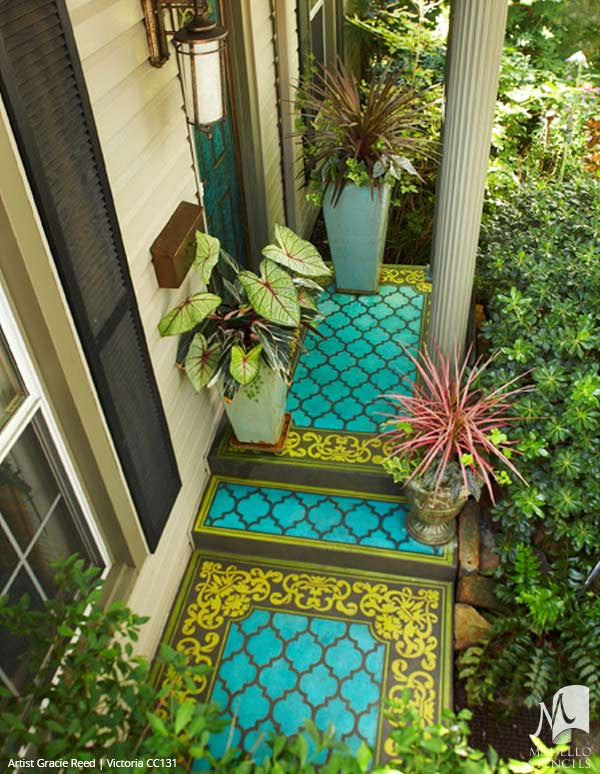 Colorful Painted Concrete Floor Stencils with Ornamental Faux Carpet Patterns on Patio - Modello Custom Stencils