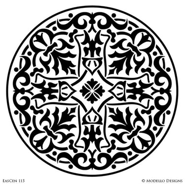 Circle Medallion for Painting Ceilings with Exotic Designs - Modello Custom Stencils