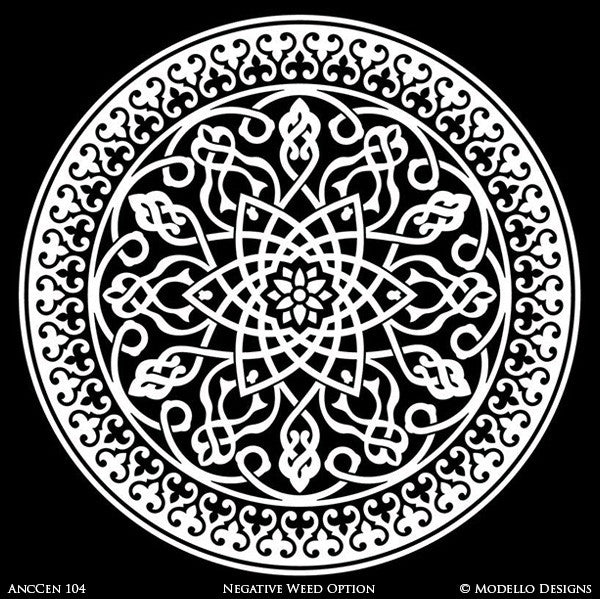 Old World and Exotic Medallions Stencils for Stenciling and Customizing Furniture, Wall Art, and DIY Ceiling Decor - Modello Custom Stencils