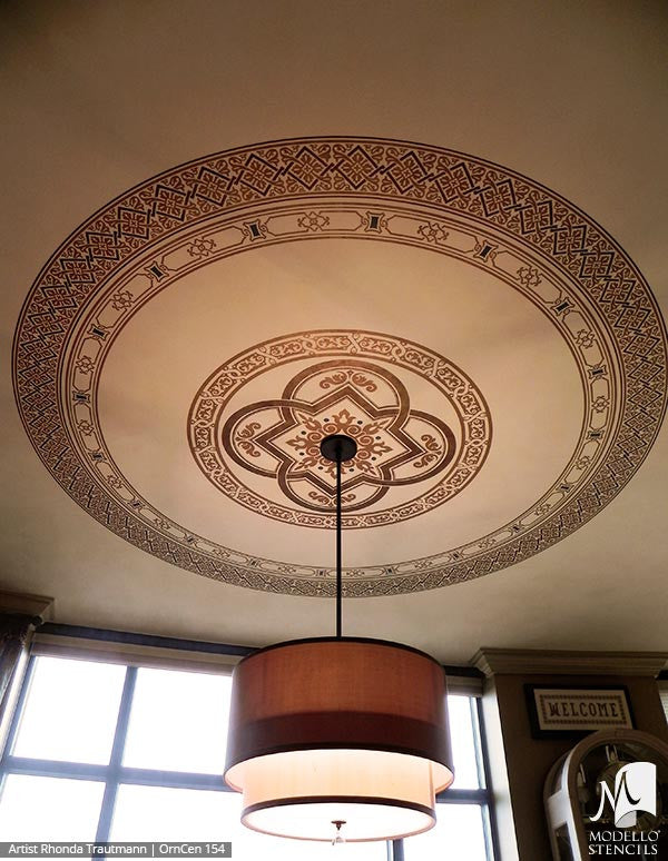Vinyl Sticker Stencils with Ornamental European Designs and Custom Patterns on Ceilings