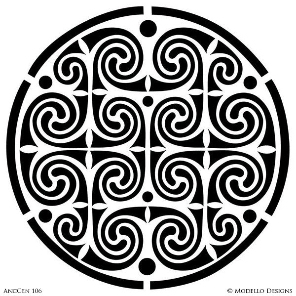 Circle Medallion for Painting Ceilings with Classic Designs - Modello Custom Stencils