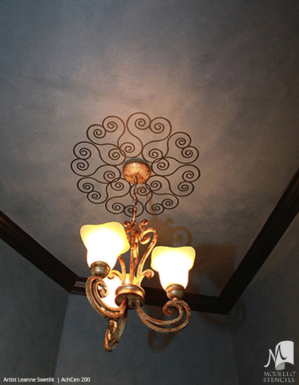 Custom Painted Ceiling Medallion Stencils for European Style Home Decor