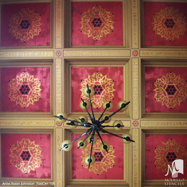 Colorful Ceiling Design with Painted Medallion Stencils - Exotic Oriental Moroccan Asian Indian Decor