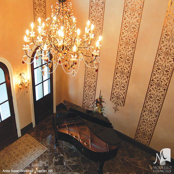 ... Moroccan Asian Indian Design And Interiors   Painted Wall Panel  Patterns   Modello Custom Stencils For