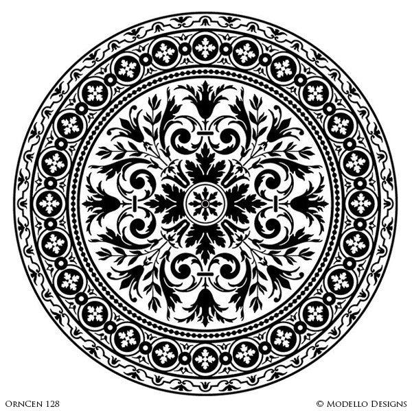 Modern Circle Medallion Stencils for Stenciled and Painted Ceiling Designs