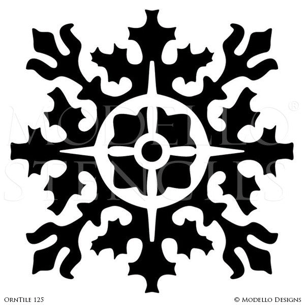 Ornamental and Decorative Wall Art Stencils - Modello Custom Designer Tile Stencils