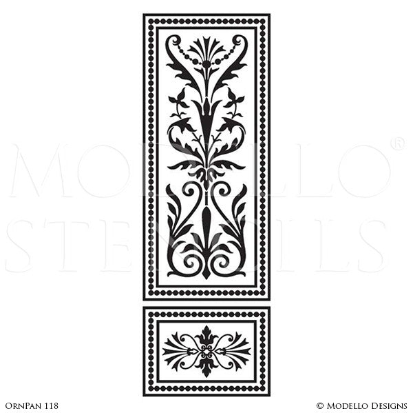 Tall Large Door Wall Window Panel Stencils for Vintage Ornamental Style Decorating - Modello Custom Wall Stencils