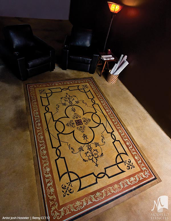 Custom Decor Idea and Painting Concrete Floor Carpet Stencils - Modello Custom Stencils