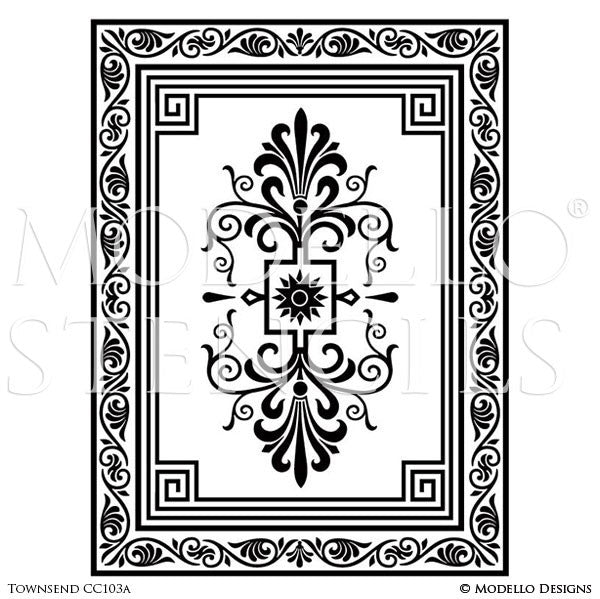 Decorative Concrete Floor Carpet Stencils for Custom Painted Decor - Modello Custom Stencils