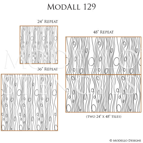 Modern Swirl Lines Painted and Stenciled on Decorative Wall Finish - Modello Custom Wall Stencils