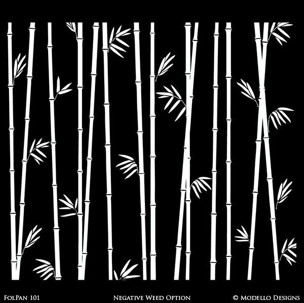Asian Interior Decorating - Bamboo Wall Mural Stencils - Modello Custom Stencils