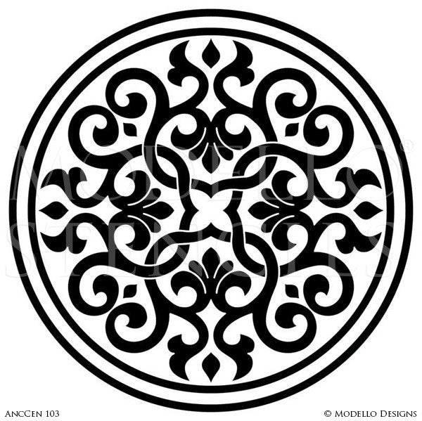 Old World and European Design and Decor - Large Ceiling Medallion Stencils - Modello Custom Stencils