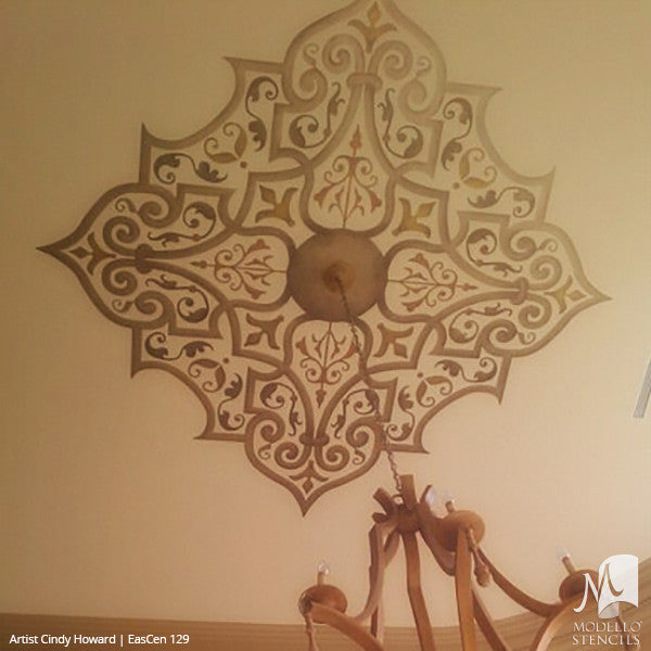 Custom Painted Ceilings and Wall Murals with Exotic Stencil Patterns - Modello Custom Adhesive Vinyl Stencils