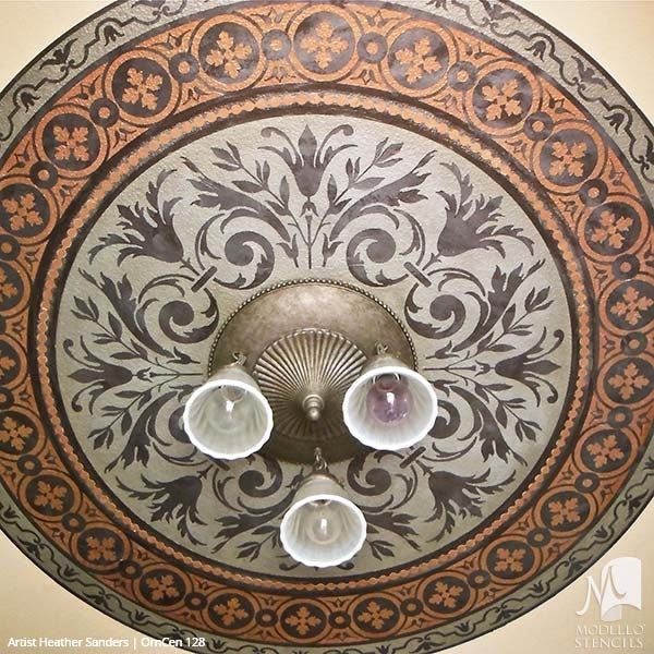 Stenciling Ceiling Designs for Custom Home Decor - Modello CustomCeiling Medallion Stencils