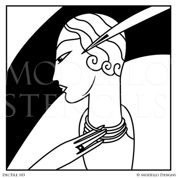 Art Deco Design and Painted Decor - Mural Tile Stencils from Modello Custom Stencils