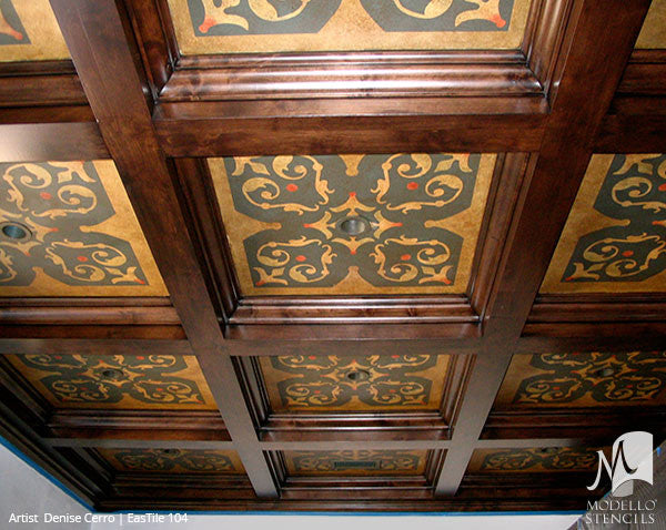 Painted Ceiling Tile Stencils with Oriental Design - Modello Custom Stencils