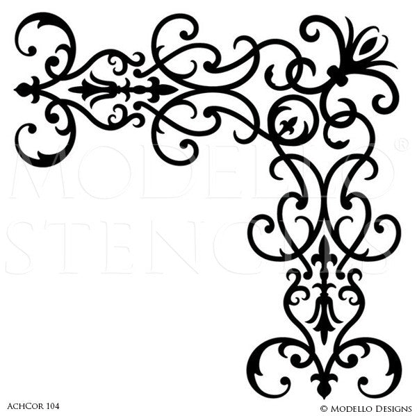 Architectural Design and Decor with Wall Ceiling Corner Stencils - Modello Custom Stencils